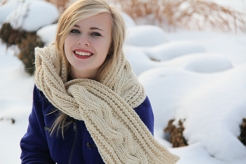 Fish Moderne Scarf tied | The Knitting Vortex