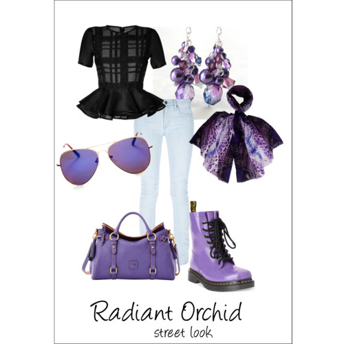 Radiant Orchid street look on Polyvore | The Knitting Vortex
