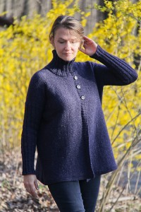 Turtleneck Boxy Jacket front view | The Knitting Vortex