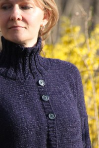 Turtleneck Boxy Jacket neckline | The Knitting Vortex
